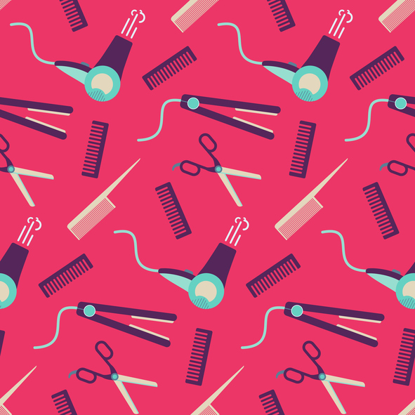 illustration of hair appliances